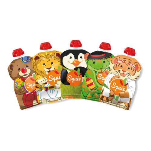 SQUIZ ételtasak, 5 darabos, Carnaval (Bohóc medve, Pingvin, Oroszlán, Kígyó, Tigris), 130 ml