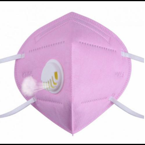 KN95 FFP2 rózsaszín szelepes maszk, 5 rétegű szájmaszk n95 - 1db