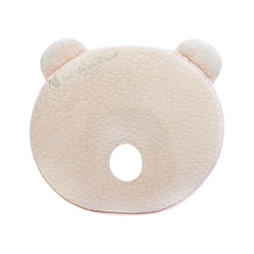 Kikkaboo párna memóriahabos, ergonomikus laposfejűség elleni, Mackó alakú bézs velvet