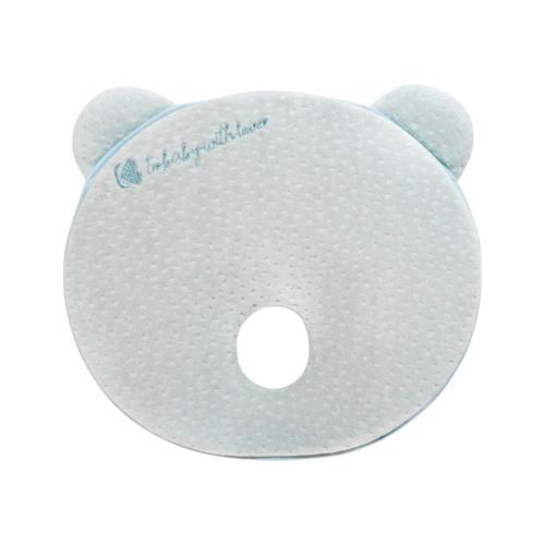 Kikkaboo párna memóriahabos, ergonomikus laposfejűség elleni, Mackó alakú menta velvet