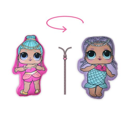 Kifordítható LOL Baba játékpárna kislányoknak - kettő az egyben párna - világoslila-rózsaszín